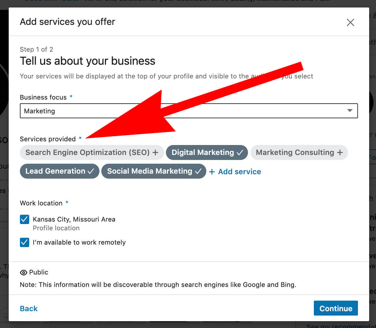 Linkedin Add Business Services - showcase services - to your LInkedin Profile - Select services provided