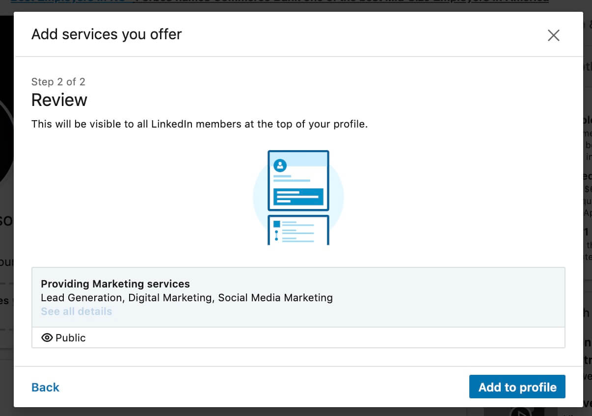 Linkedin Add Business Services to your LInkedin Profile - Review