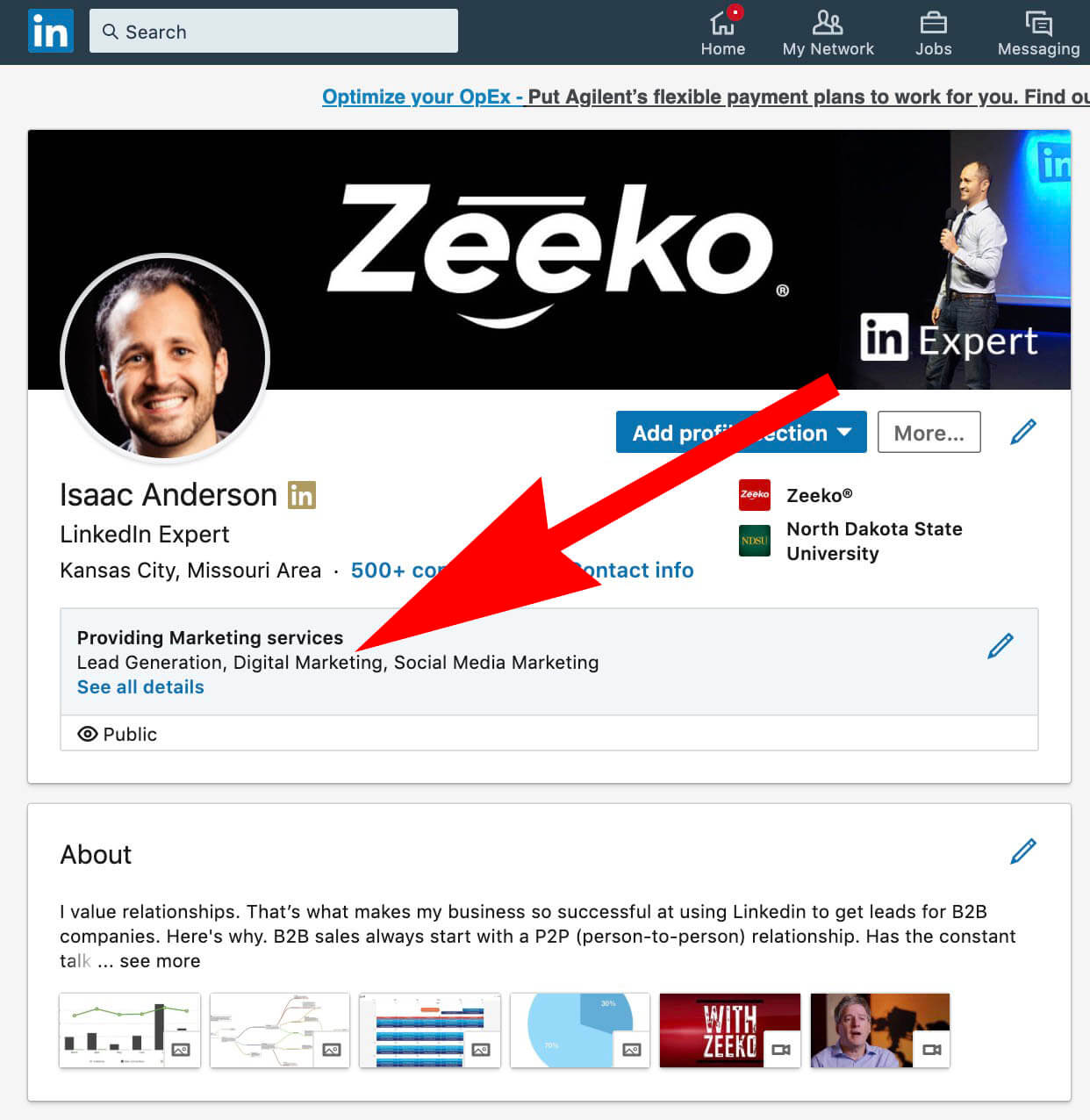 Linkedin Add Business Services to Profile - what it looks like when you're done