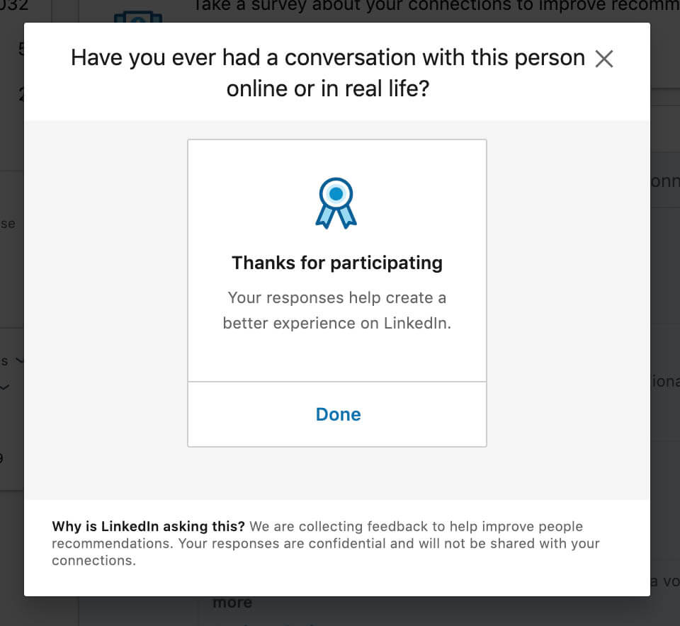 Linkedin survey connections to improve recommendations - survey complete