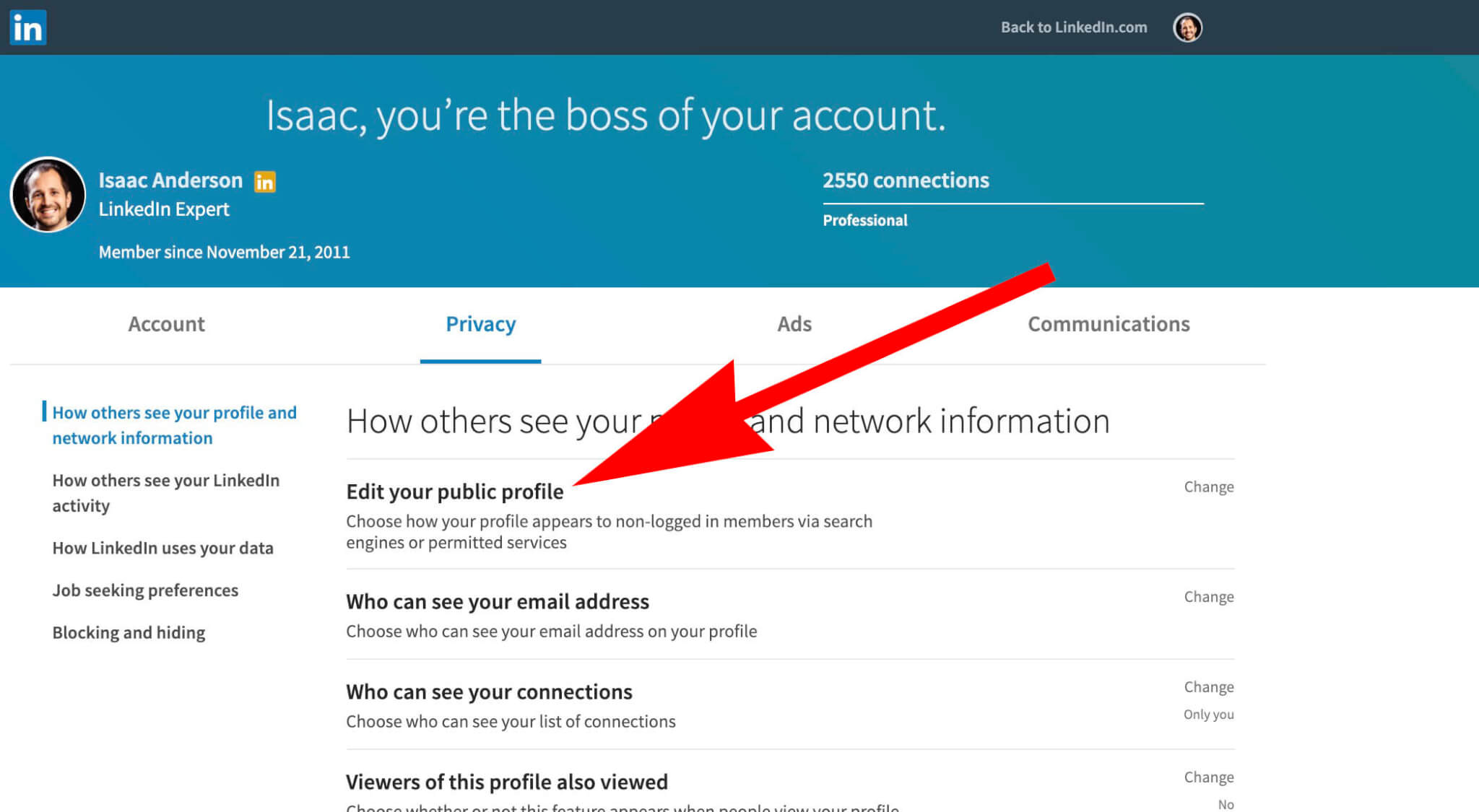 What is my Linkedin Public Profile - accessing settings