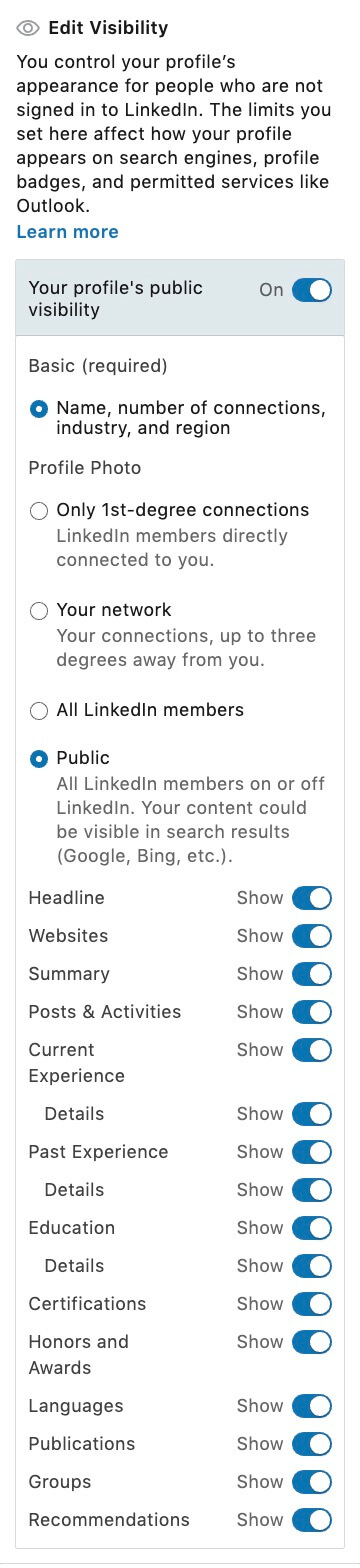 What is my Linkedin Public Profile - editing visability on public profile