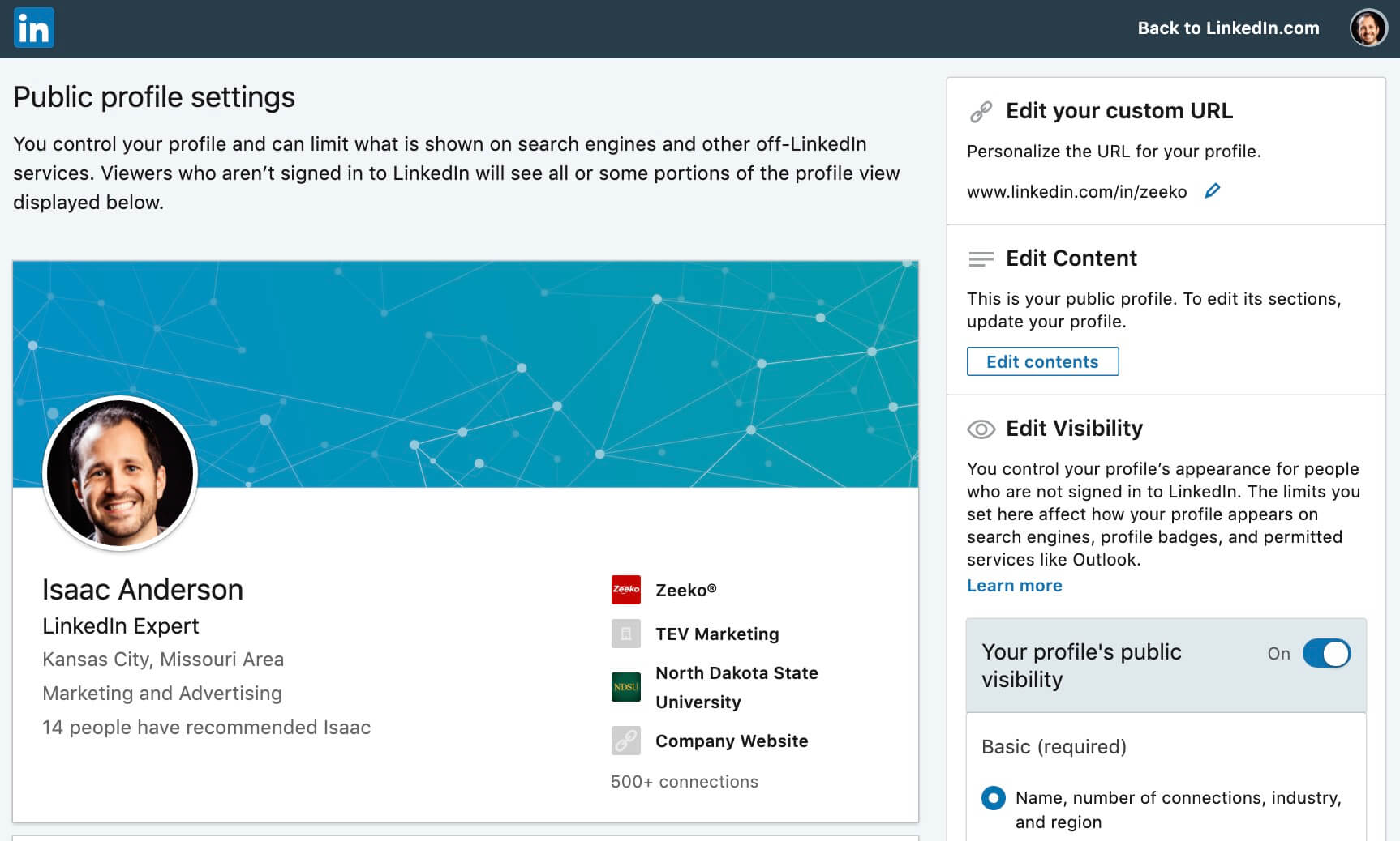 What is my Linkedin Public Profile - settings page