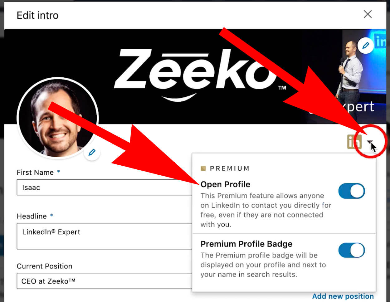 how to enable open profile from your Linkedin profile page