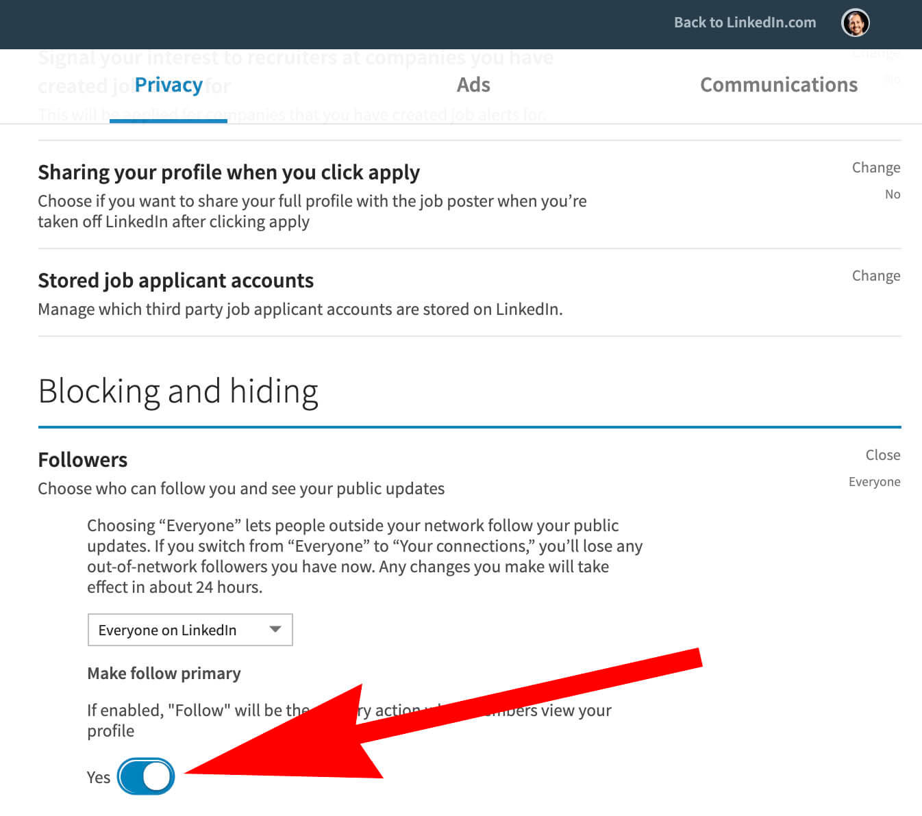 how to change connect button to follow on Linkedin - changing options