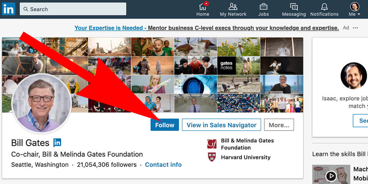 how to change connet button to follow on Linkedin - what it looks likea