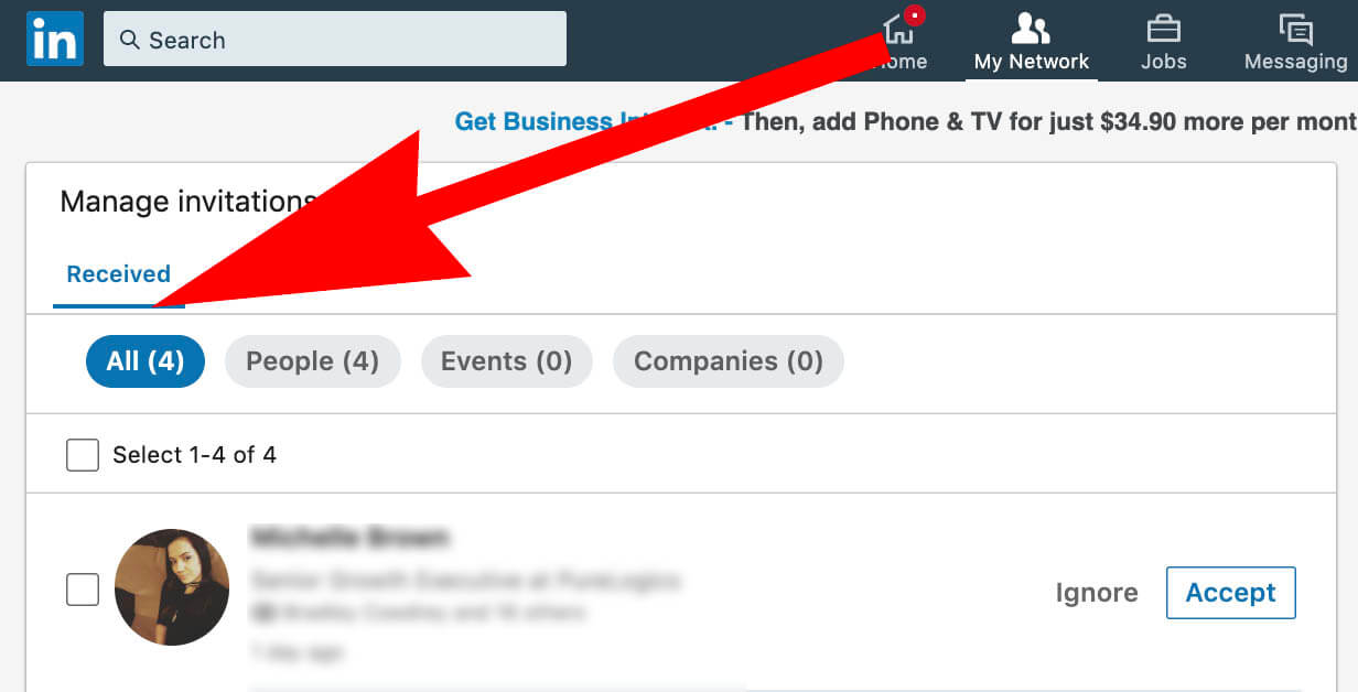 How to see Linkedin invitations sent - default view is received