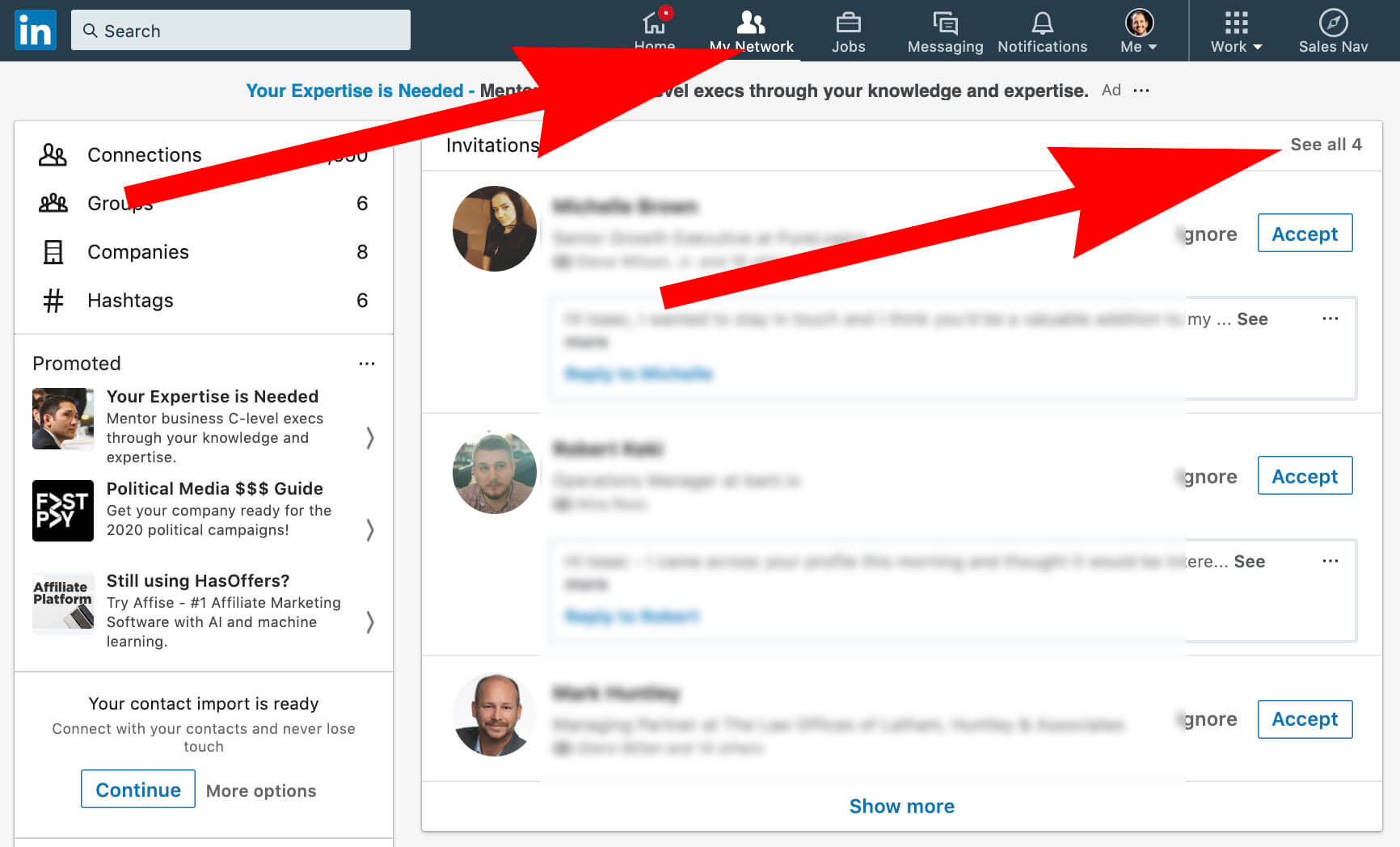 Step 1 and 2 - how to see Linkedin invitations sent - click my network see all