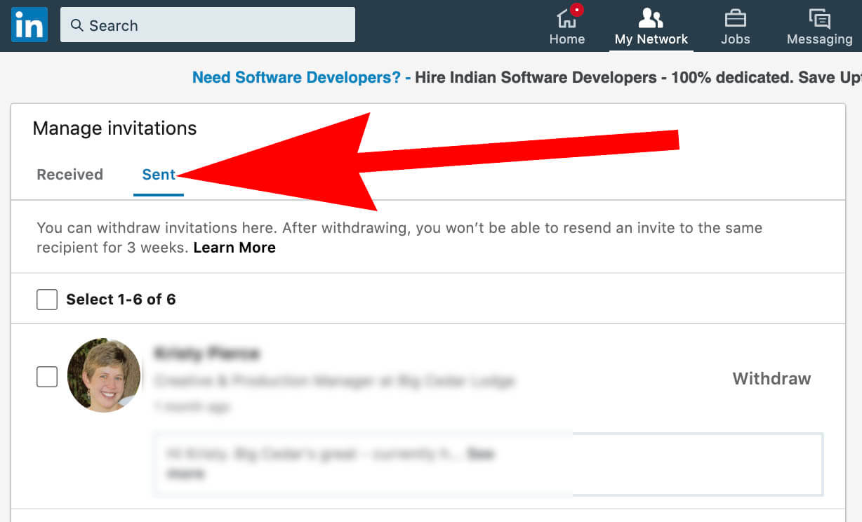 Step 3 - how to see Linkedin invitations sent - view sent