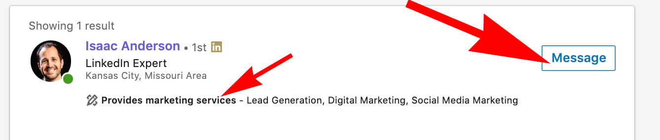 Service Provider notification displayed on Linkedin search and message call to action