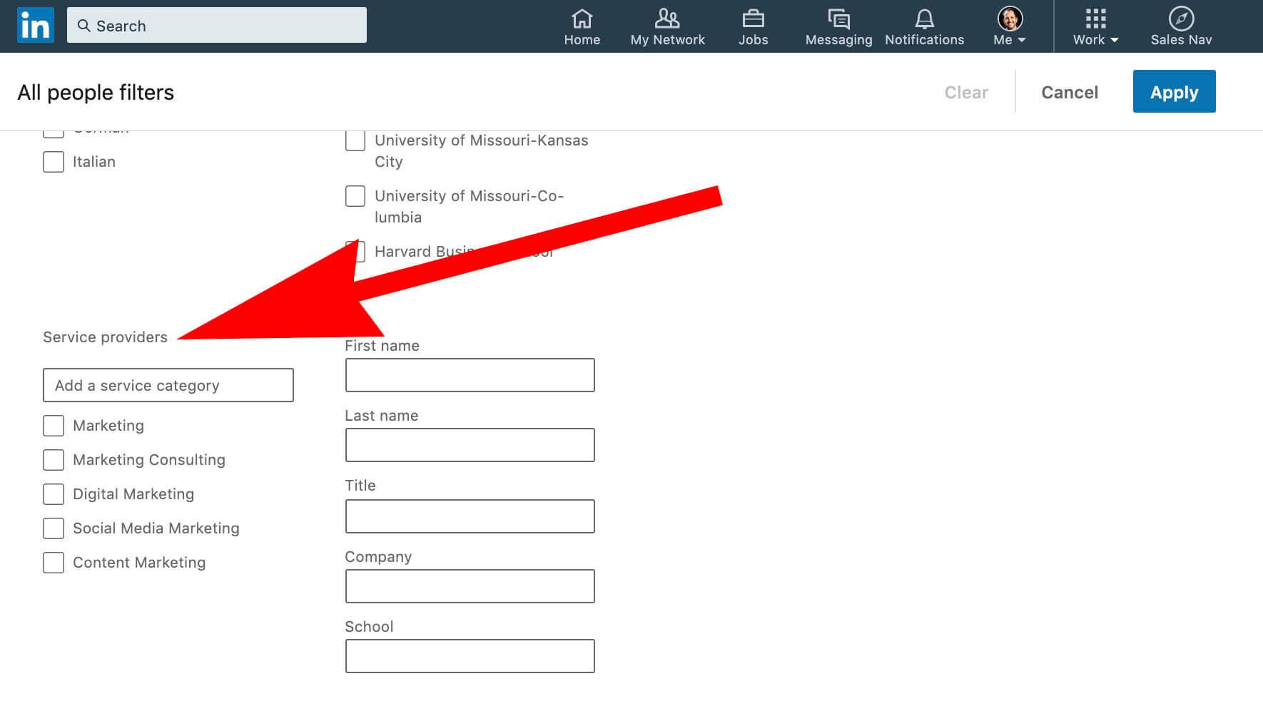 service provider search filter in Linkedin search