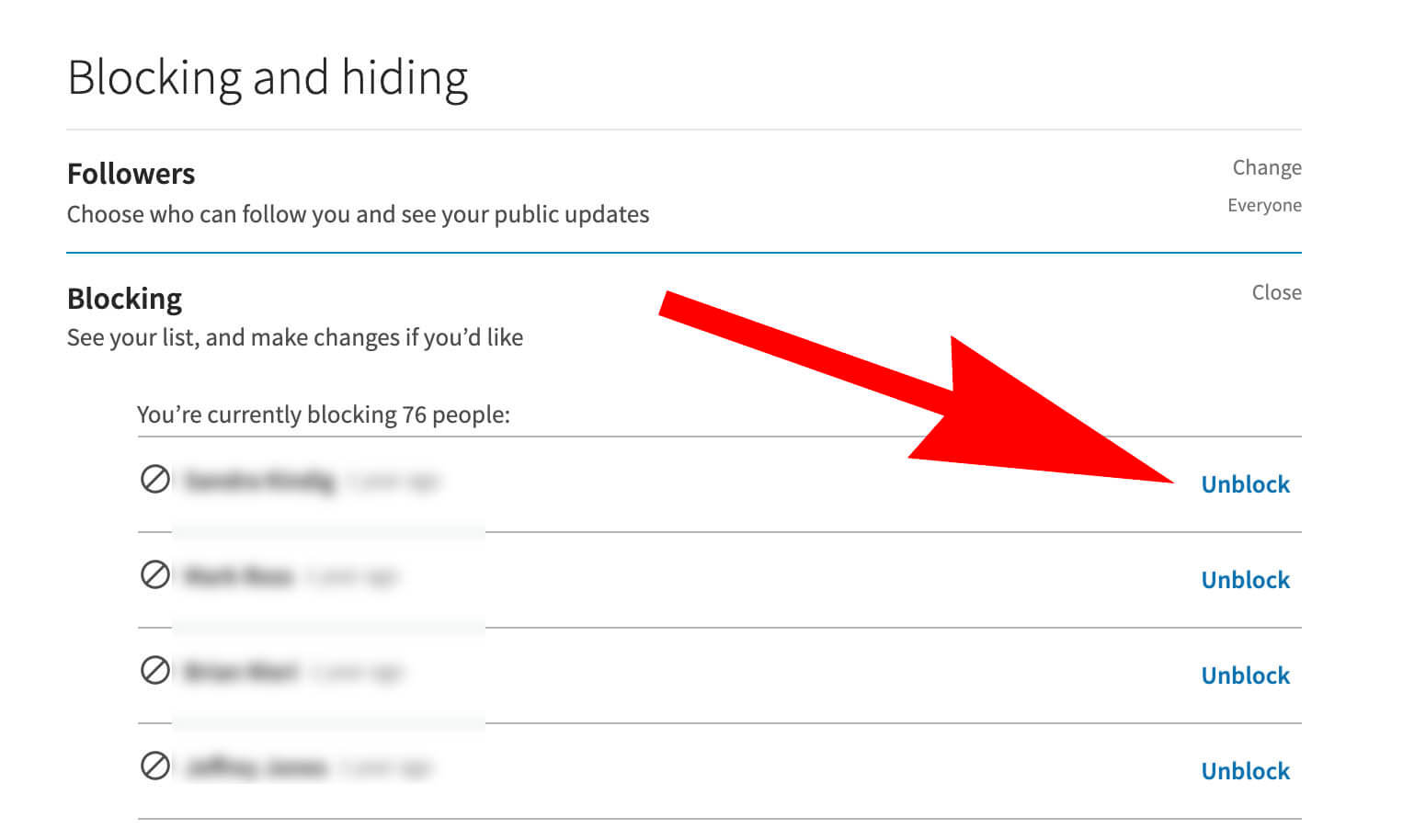 Unblocking from your Linkedin blocked list