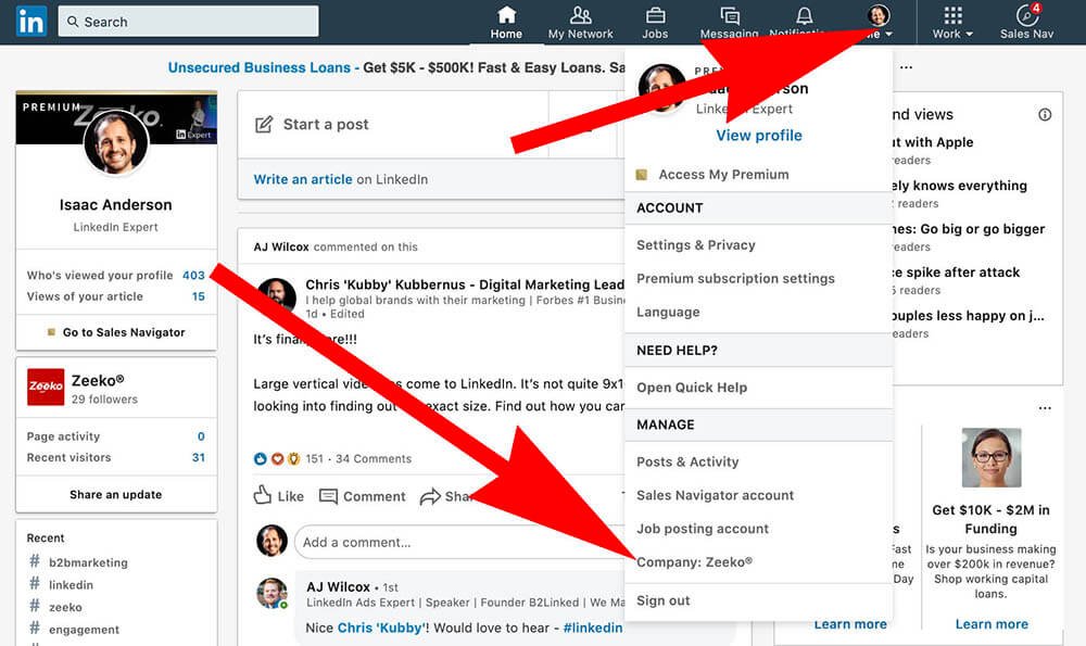 How to comment as your Linkedin Company Page - Go to company page