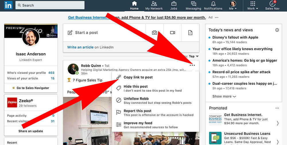 How to comment as your Linkedin Company Page - copy post url