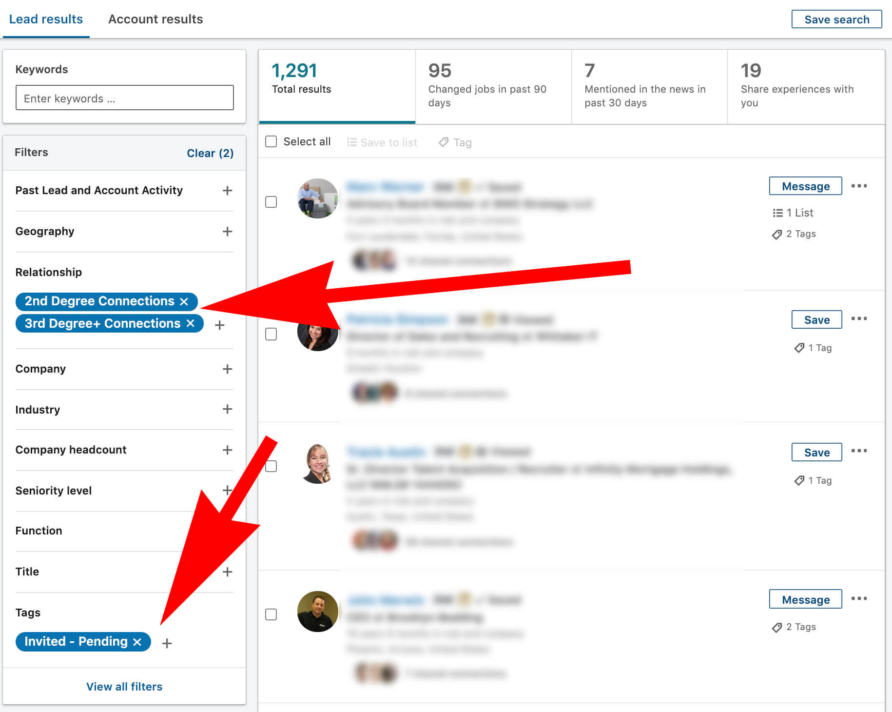 Linkedin tagged people with pending connections