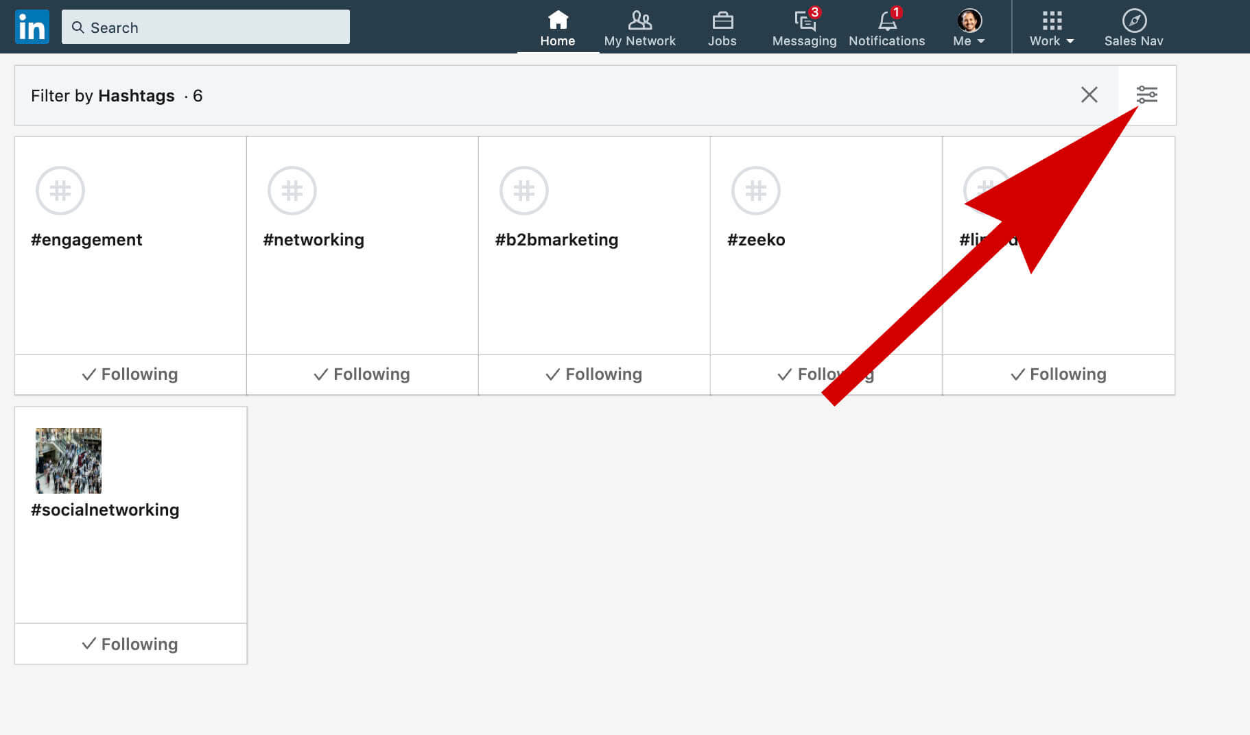 how to unfollow someone on Linkedin without viewing their profile - click toggle