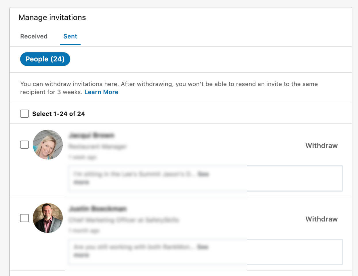 Linkedin sent invitations