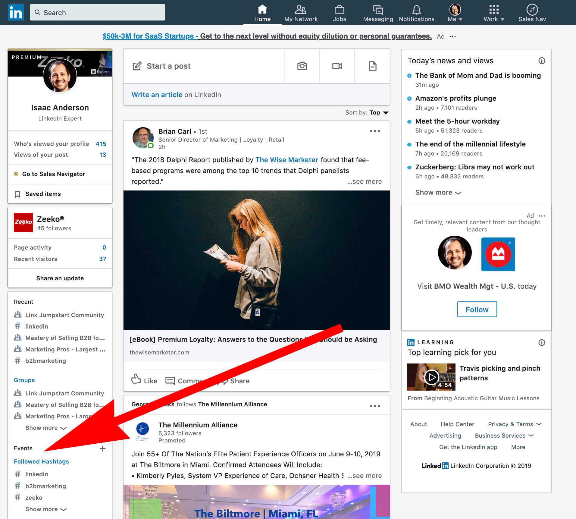 How to use LInkedin Events - Click add event