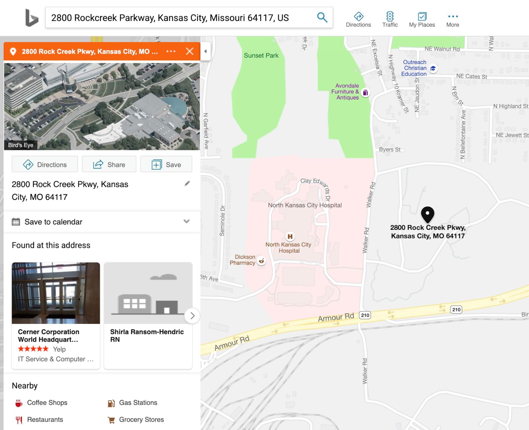 Linkedin company pages use Bing Maps