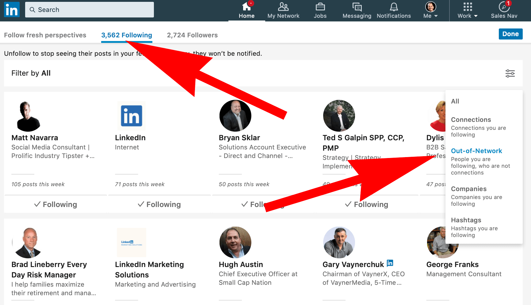 How do I find people I follow on Linkedin but not connected to?