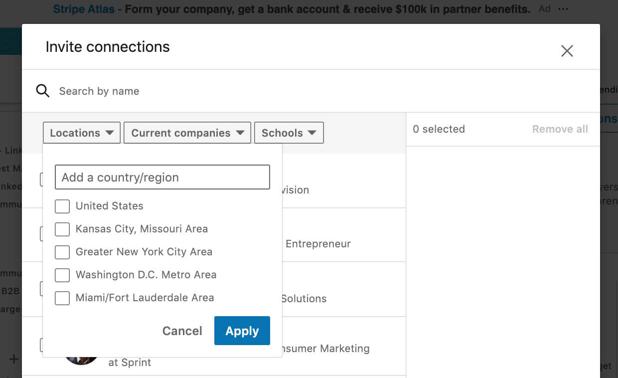 Filter connections to invite to Linkedin event