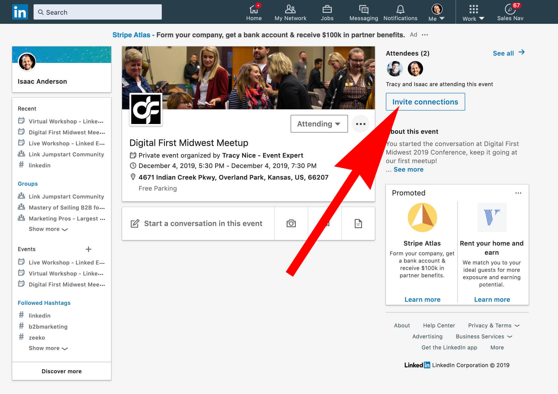 Invite connections to Linkedin event