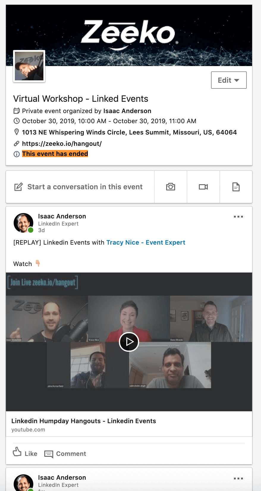 What happens after a Linkedin event expires - content still visible