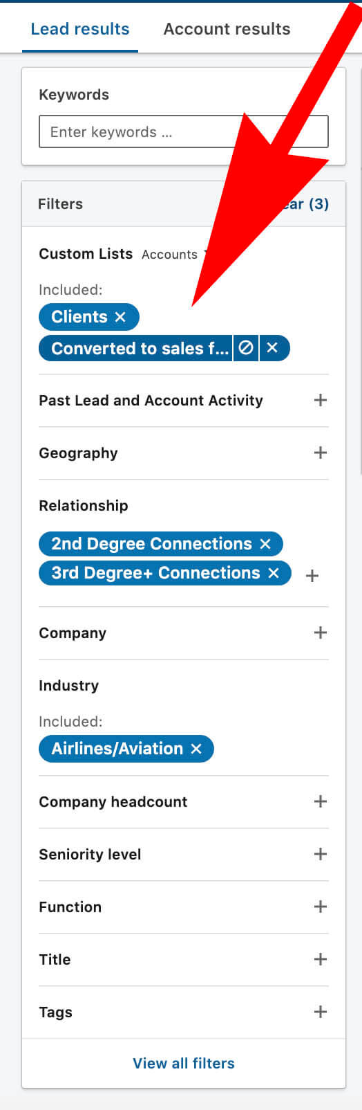 Using Linkedin Custom Lists to create Do Not Contact Templates - adding custom list to search filter