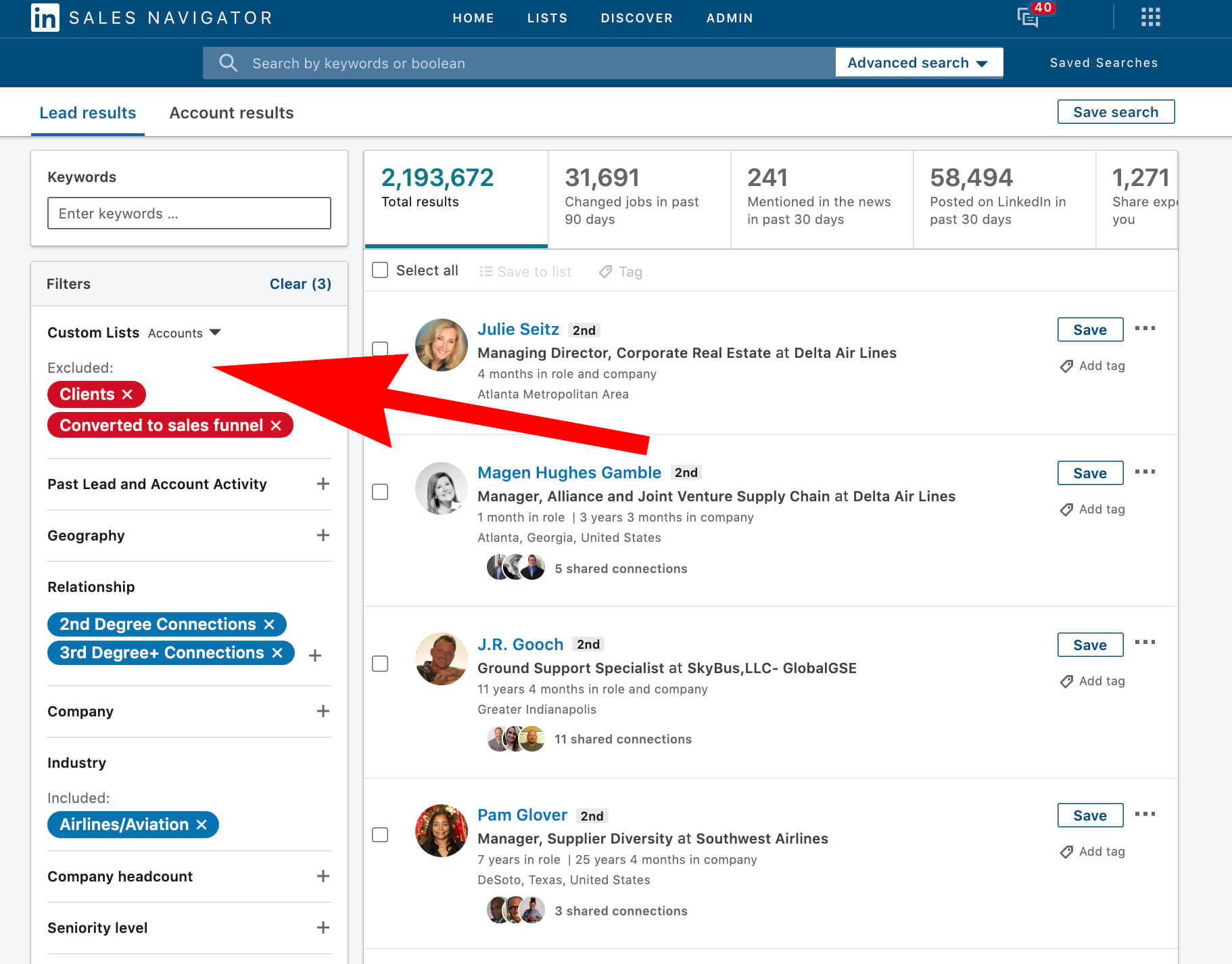 Using Linkedin Custom Lists to create Do Not Contact Templates - custom lists excluded