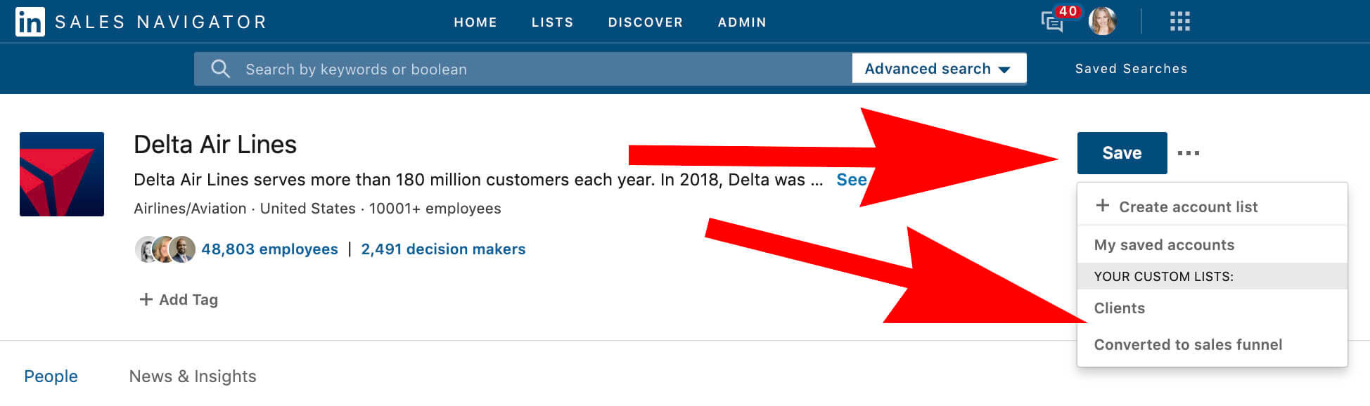 Using Linkedin Custom Lists to create Do Not Contact Templates - saving accounts to the right list