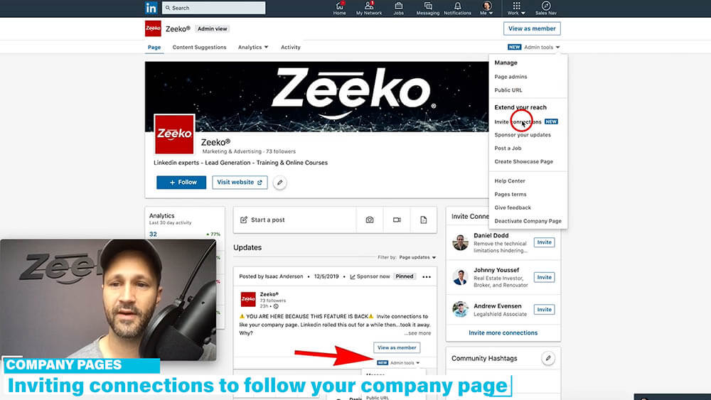How to invite someone to follow your Linkedin company page - click the invite connections button