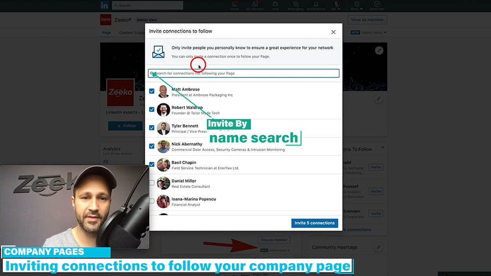 How to invite someone to follow your Linkedin company page - click the invite connections by searching for them by name