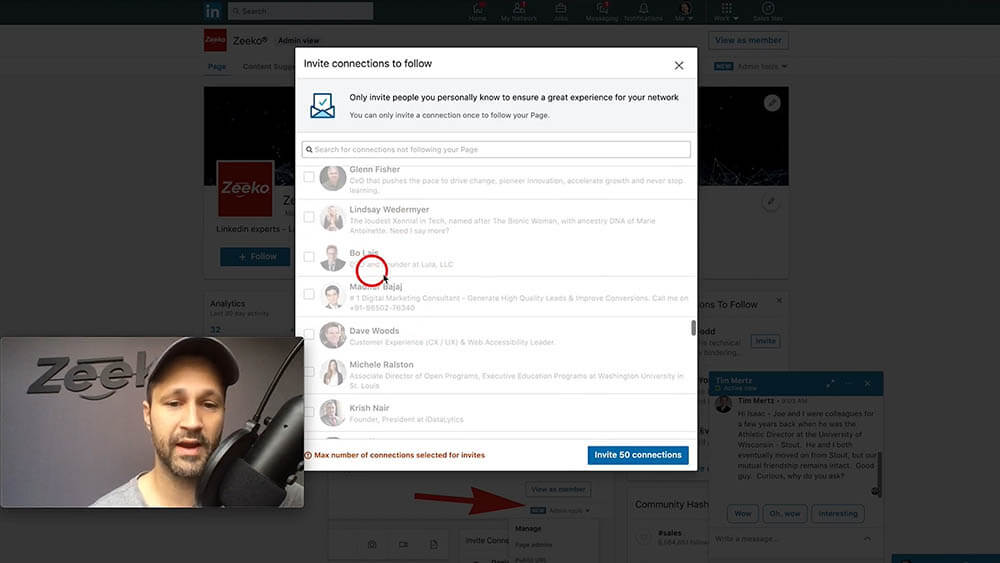 How to invite someone to follow your Linkedin company page - limit 50 invitations per day