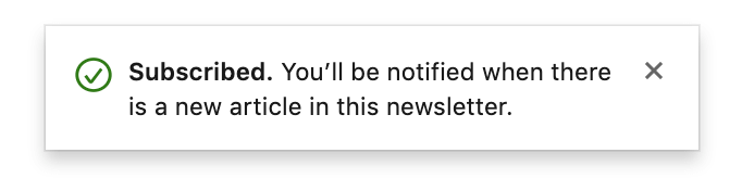 LInkedin Newsletter - message after subscribing to newsletter