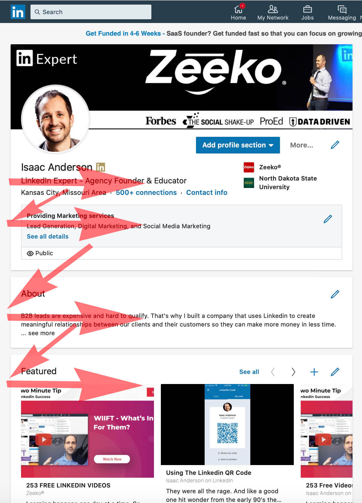 How To Add Featured Content and Images To a Linked Profile - Z Pattern Profile