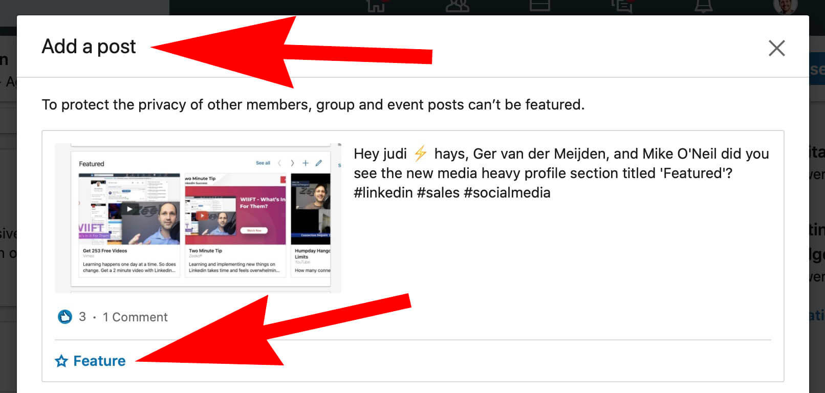 How To Add Featured Content and Images To a Linked Profile - adding a featured post