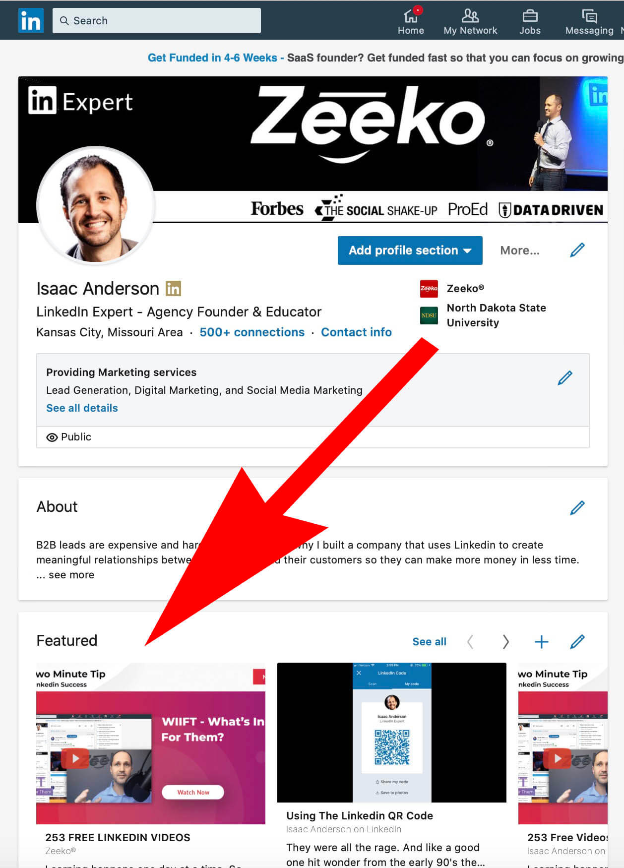 How To Add Featured Content and Images To a Linked Profile - location on your profile