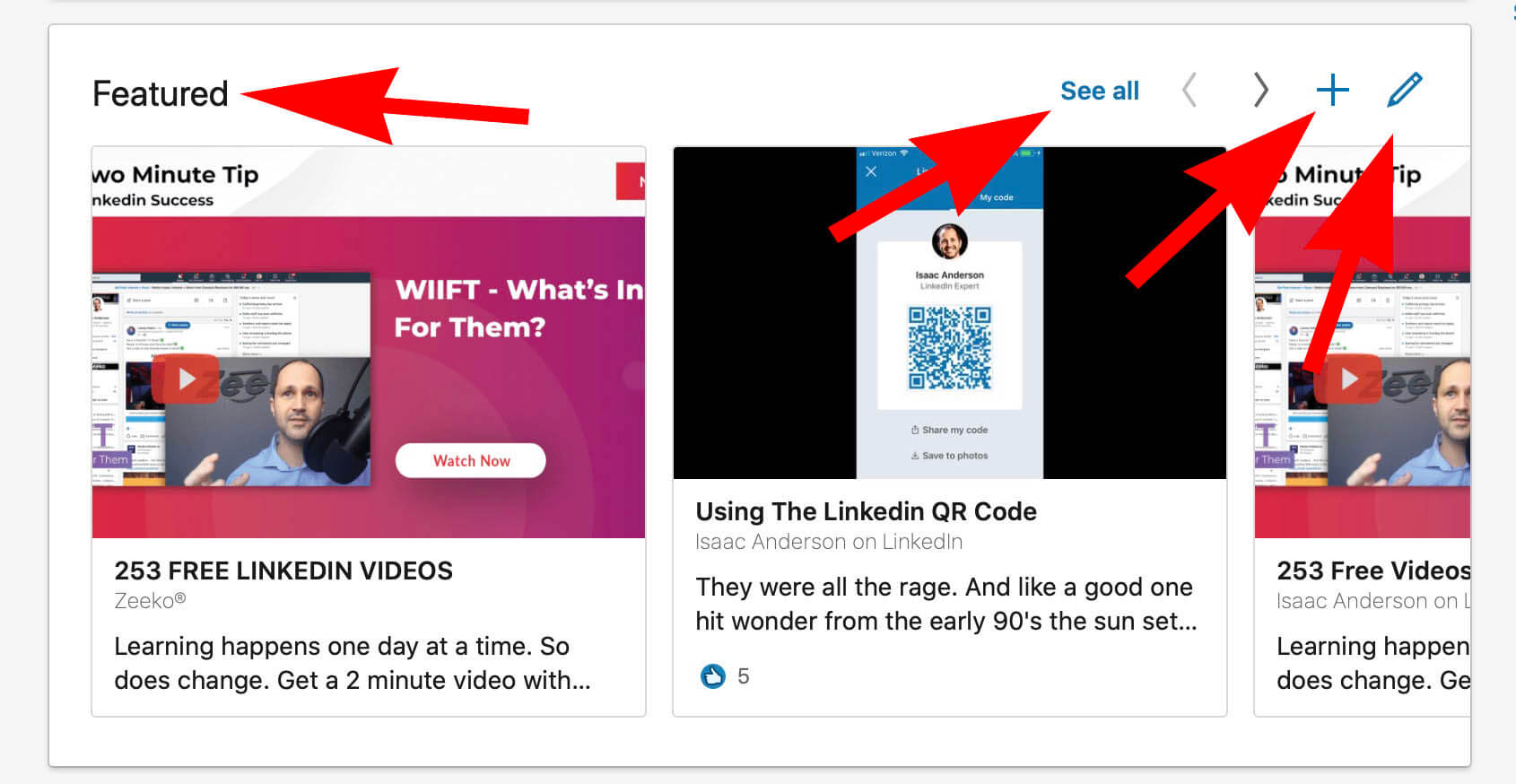 How To Add Featured Content and Images To a Linked Profile - menu options