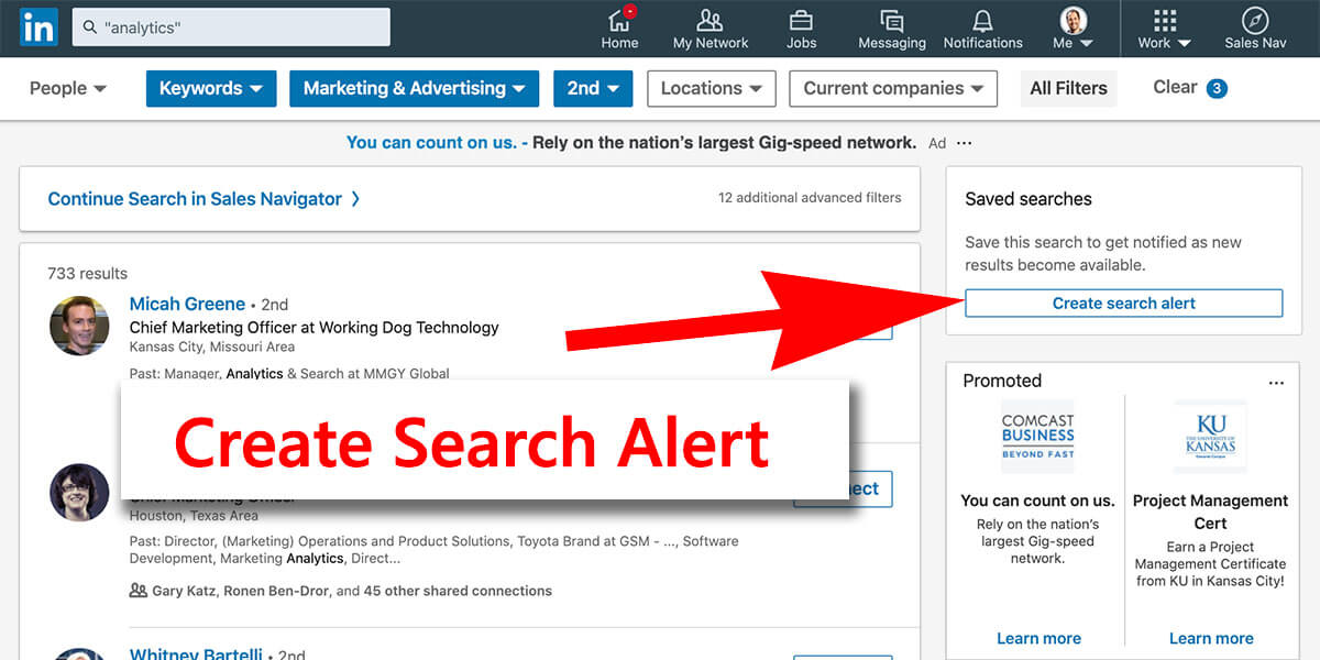 Linkedin create search alert