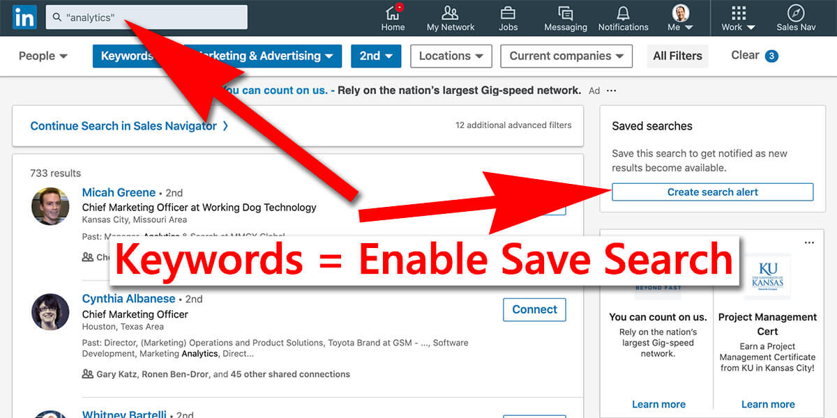 Linkedin saving searches on a free account - featured image