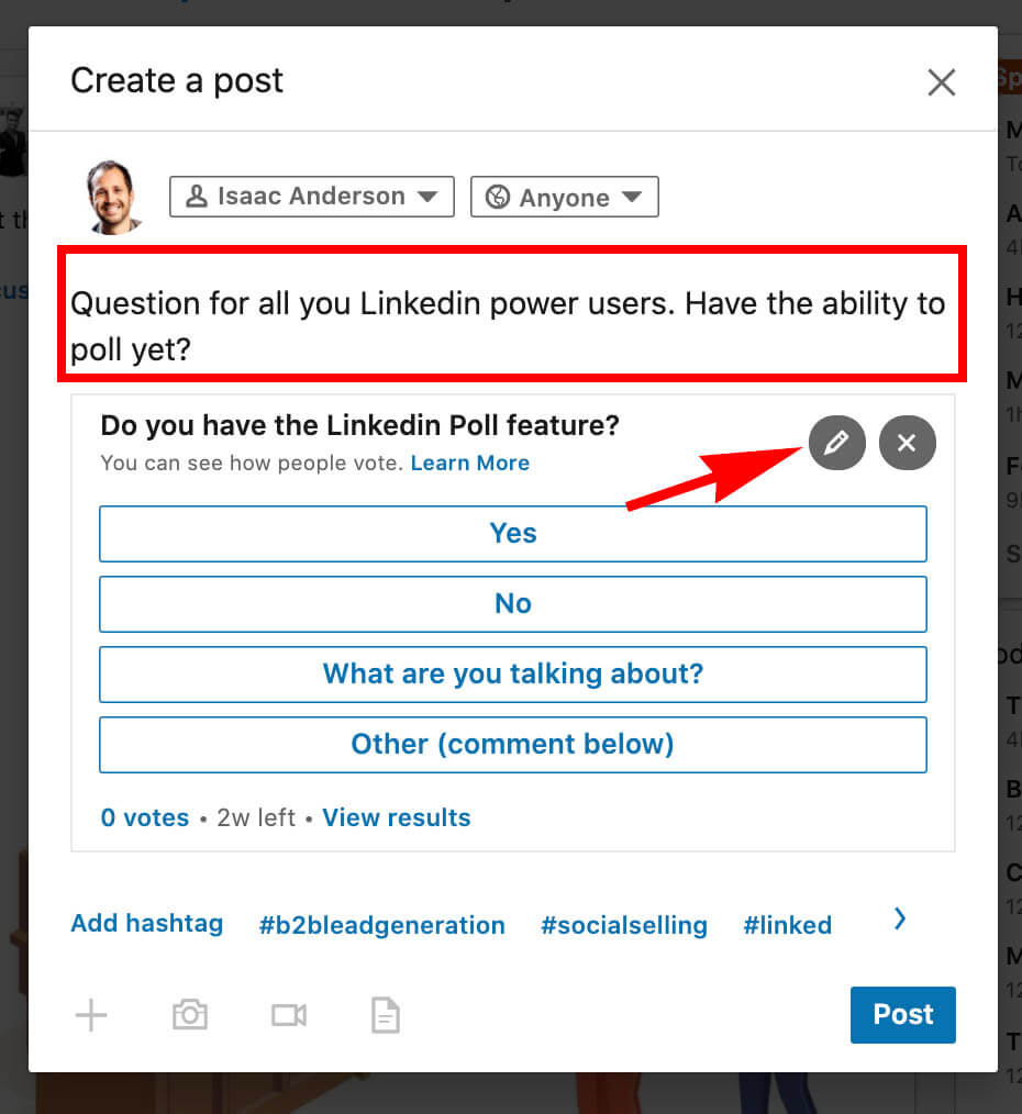 How to create a Linkedin poll and use it for sales - addnig poll post content