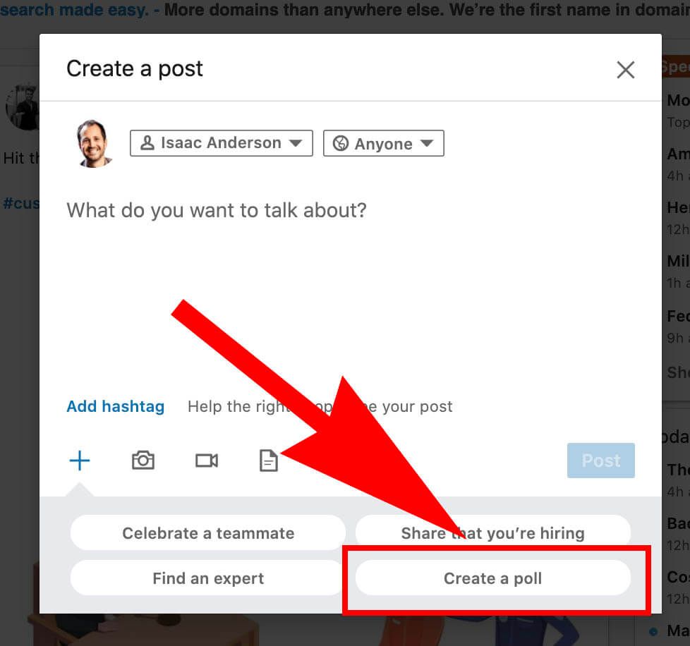 How to create a Linkedin poll and use it for sales - creating a poll
