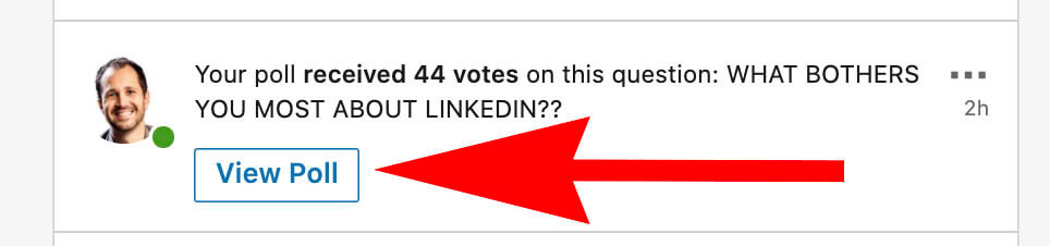 How to create a Linkedin poll and use it for sales - poll notification