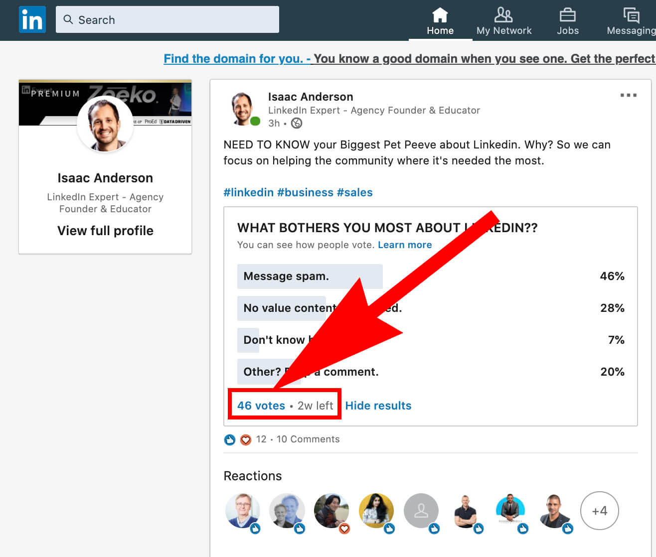How to create a Linkedin poll and use it for sales - poll results