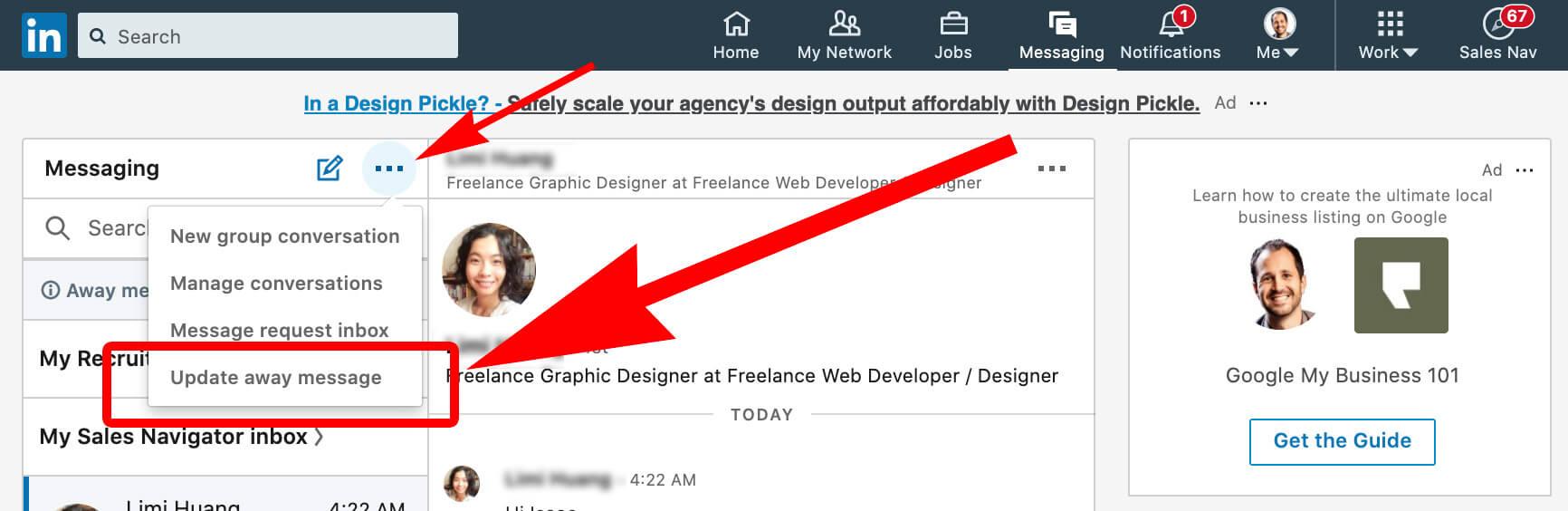 Linkedin how to set away message on desktop 1 - select drop down