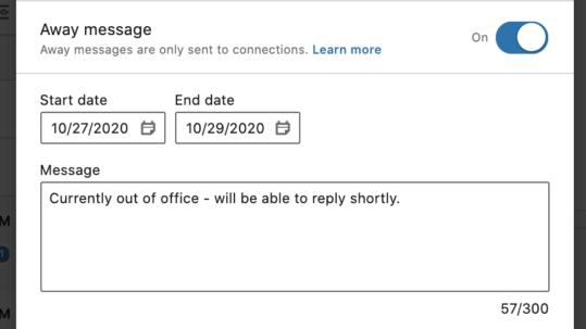Linkedin how to set away message on desktop 2 - seet away date and message