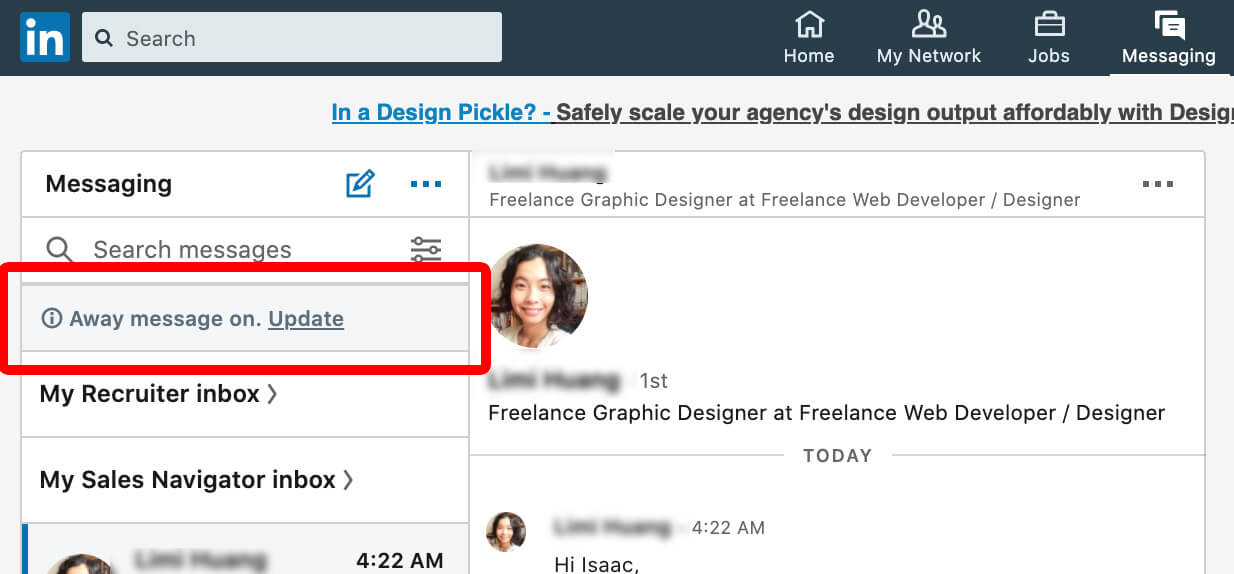 Linkedin how to set away message on desktop 3 - away message notification