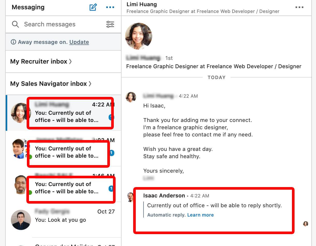 Linkedin how to set away message on desktop 4 - marks message as unread