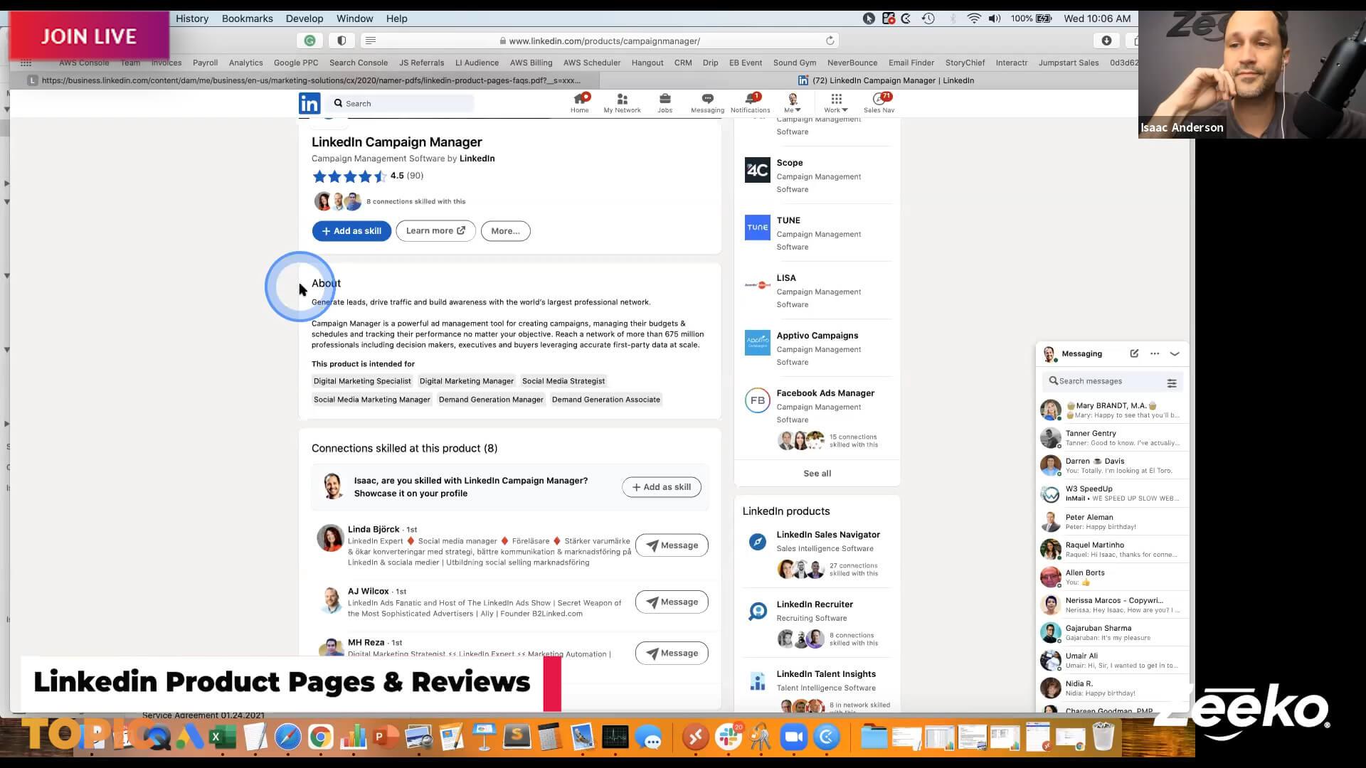 Linkedin Product Pages & Product Reviews - Zeeko Hangout
