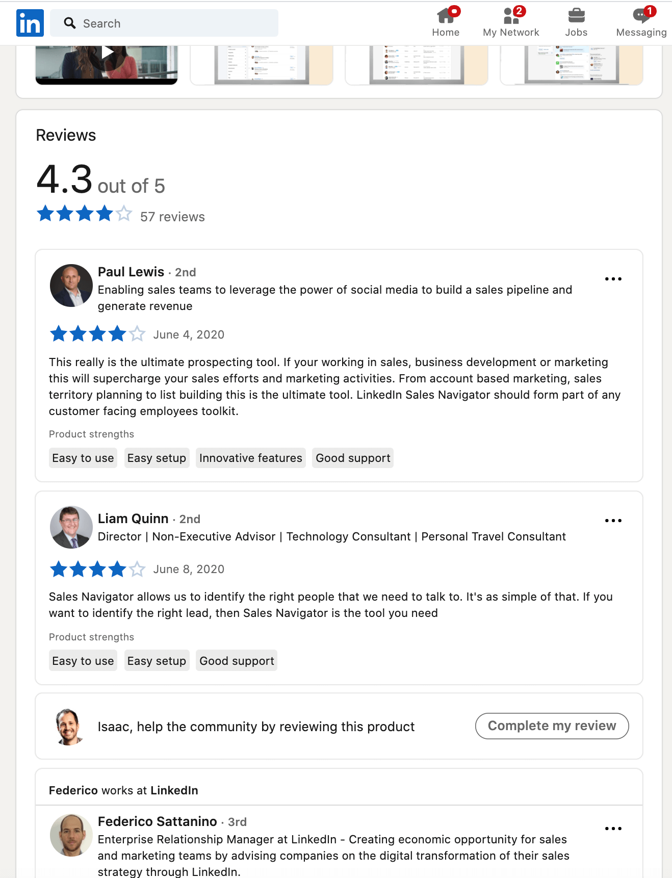 Linkedin Product Pages & Product Reviews - individual reviews